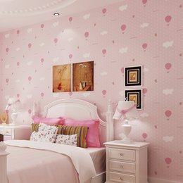 hot air balloon wall UK - Modern Cartoon Pink Hot Air Balloon Non-woven Wall Paper Rolls Blue Boys Girls Bedroom Children Room Decoration Wallpaper Print