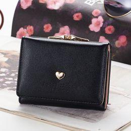 heart metal frame 2019 - Women Metal Frame Small Lock Short Portable Card Holder Coin Pocket Love Heart Mini Tri-fold Clutch Purse Wallet Gift PU