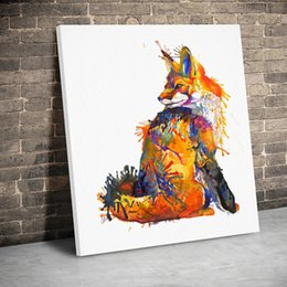 fox decor Australia - 1 Panel Framed Colored Sitting Fox Animals Art Canvas Paintings Wall Art Canvas Prints Pictures Kids Room Home Decor Painting