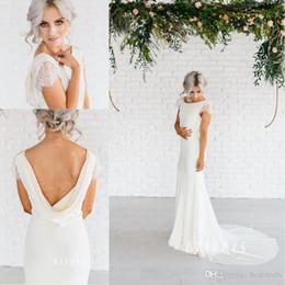 Simple Column Wedding Dresses Australia - Lace Cap Sleeves Long Sheath Chiffon Wedding Dresses With Cowl Back Simple Elegant Beach Wedding Gowns Court Train Bridal Dresses