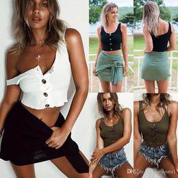 Low cut tank tops women online shopping - Women Summer Strap Tanks Tops Casual Sexy Low cut Tanks Tops Vest Sleeveless Botton Famale Short Top Camisoles