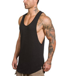 Wholesale NEW GYM VEST Summer Gyms Fitness Bodybuilding Tank Tops Stringer fashion mens Crossfit clothing Loose breathable sleeveless shirts Vest
