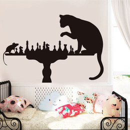 Large mouse waLL stickers online shopping - 1 Cat Playing Chess With Mouse Wall Stickers For Living Room Vinyl Creative Removable Adhesive Wall Decals Wallpaper Home Decor