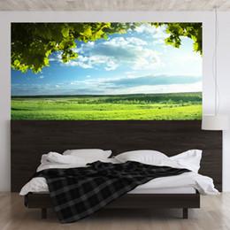 $enCountryForm.capitalKeyWord NZ - 2pcs set 3D Big Tree Green Grass Blue Sky Landscape Bedside Art Mural Sticker Home Decor Wall Sticker PVC Self-adhesive Poster