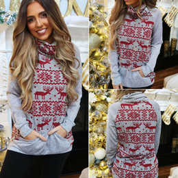 Wholesale ladies collared sweatshirts for sale – plus size Hot Sale Women High Collar Sweatshirt Slouch Pullover Christmas Elk Jumper Top Sweatshirts New Year s Sexy Ladies Hoodies