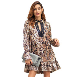 sexy snakeskin dresses Australia - Free Ship 2019 Spring Women Fashion Snakeskin Print Choker V-neck a Line Dress Casual Tunic Dress