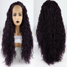 $enCountryForm.capitalKeyWord Australia - Dark Purple Curly Synthetic Hand Tied Lace Front Wig Glueless Heat Resistant Fiber Hair Free Parting For Women Wigs