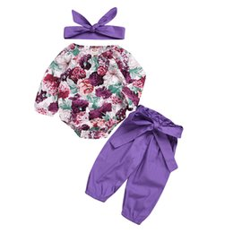 $enCountryForm.capitalKeyWord NZ - 2019 INS baby girl toddler 3piece set outfits Rose Floral Romper Onesies Jumpsuits + Pants Bloomers wtih Bow headband headwrap