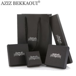 Wholesale Boxes Packaging Australia - Aziz Bekkaoui Brand Jewelry Packing Boxes For Bracelet Earring Ring Necklace Cool Black Gift Box Jewelry Boxes Fashion Packaging C19021601