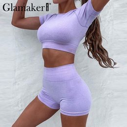 Wholesale two piece co ord resale online - Glamaker Purple short sleeve tracksuit women summer crop top two piece sport suit female short sets co ord set fashion outfits T200701