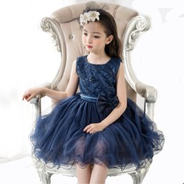 Tutu Sizes For Kids Australia - 2019 Fashion Summer Blue Flower Girl Dress For Kids Girls Party Dress Girls Tutu Dress Children Clothes Plus Size