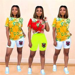 Tiger sporTswear online shopping - DHL FREE Brand Tie Dye Tiger Head Women Two Piece Outfits Designer Tracksuit Summer T Shirt Shorts Sportswear Bodysuit Jogging Set C62407