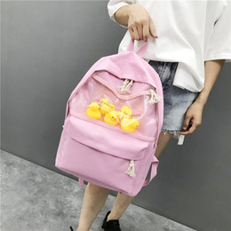 harajuku backpack fashion 2020 - 2019 newTransparent small yellow duck backpack Korean version Harajuku girl high school student bag female tide backpack