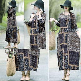 long sleeve maxi dresses Australia - Women Cotton Linen Dress Vintage Floral Print O Neck Long Sleeve Boho Loose Long Maxi Dress Vestidos G12735DB-L