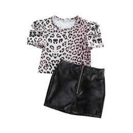 girls leather pu skirt 2020 - 1-6Y Toddler Baby Kid Girls Clothes Set Leopard Short Sleeve T shirt Pu Leather Skirts Outfits Summer Costumes Children
