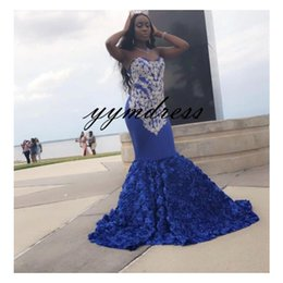 $enCountryForm.capitalKeyWord Australia - Blue Evening Dresses 2019 Sweetheart Prom Dress Arabic Lace Applique 3D Rose Flowers Plus Size Vestido De Festa