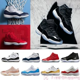 Rose Men Shoes NZ - Fashion 11 New high low le 11s basketball shoes Space Jam Rose Gold men women navy blue Varsity Red Platinum Tint Infrared 23 Cap and Gown