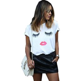 Female lips online shopping - T shirt women new fashion plus size quality summer style eyelash red lip print t shirt female dropshipping vestidos