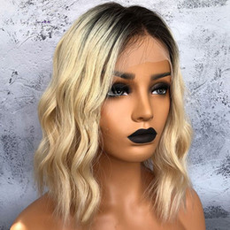 $enCountryForm.capitalKeyWord Australia - Short Wavy Brazilian Remy Human Hair Lace Front Wig Ombre blonde 1B #613 Bob Cut Lace Wig Pre Plucked Baby Hair