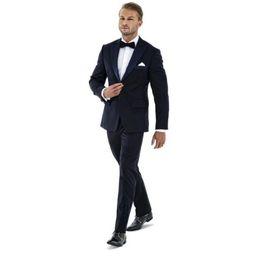 $enCountryForm.capitalKeyWord UK - Popular Groomsmen Peak Lapel Groom Tuxedos Navy Blue Men Suits Wedding Prom Dinner Best Man Blazer (Jacket+Pants+Tie) W280