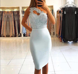 Wholesale Light Sky Blue Sexy One Shoulder Short Prom Dresses Lace Top Sheath Knee Length Short Cocktail Party Gowns Evening Dresses