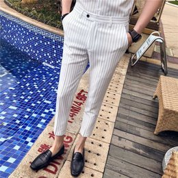 $enCountryForm.capitalKeyWord Australia - 2019 Summer Stripe Men Dress Pants Black White Mens Pants Fashions Men Skinny Fit Trousers Office Ankle Length Trousers