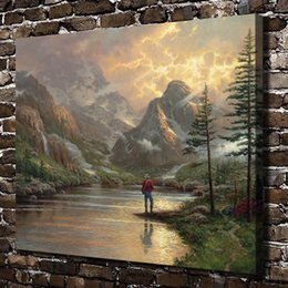 Framed Painting Scenery Australia - Thomas Kinkade,Almost Heaven Scenery,1 Pieces Canvas Prints Wall Art Oil Painting Home Decor (Unframed Framed) 24x32
