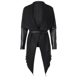 Weaved leather belt online shopping - Winter Cardigan Women Woolen Coat Slim Patch Womens Jacket Wool Pu Leather Long Sleeve Trench Belt Coat Windbreaker Wool Jacket