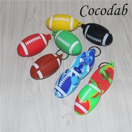 Hand pipes tHick online shopping - football silicone smoking hand pipes with glass thick bowl keychain oil burner water unique percolator bong silicone dab rigs