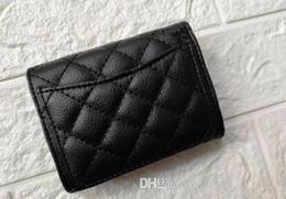 Toptan satış plastik toz torbası bayan parti hediye lüks kese ile 2019 Yeni Moda PU düğmesi Mini Cüzdan klasik kart sahibi Para depolama çantası VIP hediye
