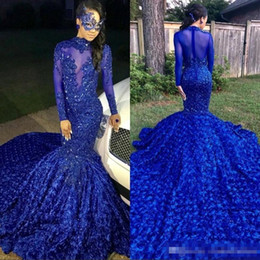 Dress Tulle Tail NZ - Luxury Long Tail Royal Blue 2019 Black Girls Mermaid Prom Dresses High Neck Long Sleeves Beaded Handmade Flowers Evening Party Gowns BC0749