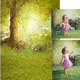 background prints Australia - Happy Easter Spring Background Photography Printed White Flowers Big Tree Green Meadow Fairy Tale Woodland Baby Shower Backdrop