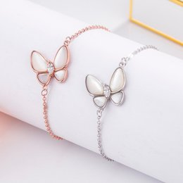 butterfly chain bracelets silver Australia - S925 sterling silver oblique butterfly natural fritillary shell plating 18K rose gold beautiful all-match female bracelet