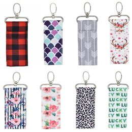 $enCountryForm.capitalKeyWord Australia - Colorful Printed Lipstick holder Chapstick Holder Keychain Pouch Bag Lip Palm Floral Keyring Storage Bag For Girls Birthday Gifts HH9-2249