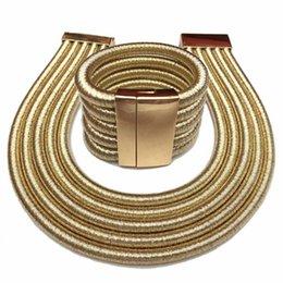 $enCountryForm.capitalKeyWord NZ - Hot Boho Collar Necklace Jewelry Sets Fashion Magnetism Button Multilayer Choker Necklaces Bracelets Set Women Bijoux