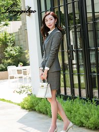 женская рабочая одежда оптовых-High quality women s suit autumn and winter new professional small suit salesman ladies dress work clothing Korean Slim