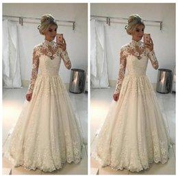 Robe Mariee Vintage Australia - Real 2019 Vintage Wedding Dresses Vintage A-line High Neck Long Sleeves Lace Wedding Dresses Floor Length Wedding Gowns robe de mariee