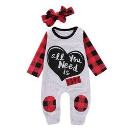 eb2a6a16e Mikrdoo Newborn Infant Baby Girl Boy Clothes Love Heart Print Long Sleeve  Romper with Headband Plaid Print Clothing Sets