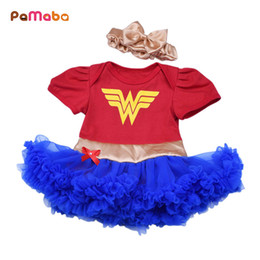 Woman Tutus Australia - Pamaba 2pcs Baby Superhero Clothes 0-18m Girl Tutu Dress With Headband Ruffle Toddler Wonder Woman Batman Superman Costume Frock Y190516