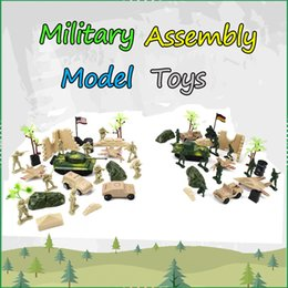 military toys for boys Canada - Mini Plastic Soldiers Car Tank Model Kits Assembly Toys Set for Boys Military Warrior Educational Outdoor Toys for Kids Teens Party Favors