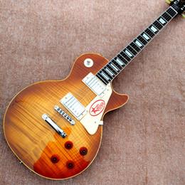 Vente en gros Livraison gratuite en gros Custom shop 1959 R9 Tiger Flame guitare électrique Standard lp 59 guitare électrique HOT guitars guitarra