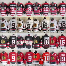 Großhandel Neu 16 Brett Hull Trikots 10 Patrick Sharp Herren Chicago Blackhawks 8 Bill Mosienko 9 Bobby Hull 18 Denis Savard 19 Jonathan Toews Vintage CCM