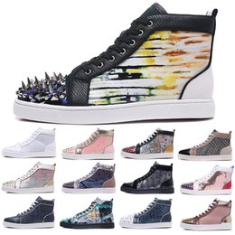 brand designer luxury mens red bottoms casual shoes women high top sneakers spikes leather flats boots wholesale for cheap size us 12 eur 46 on Sale
