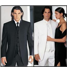 $enCountryForm.capitalKeyWord Australia - Custom Made Groomsmen Black white Groom Tuxedos Mandarin Lapel Best Men Bridegroom Wedding Prom Dinner Suits (Jacket+Pants+Tie+Vest) H98