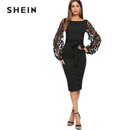 Shein Black Party Elegant Flower Applique Contrast Mesh Sleeve Form Fitting  Belted Solid Dress Autumn Women Streetwear Dresses Y19021416 50a521a0dc12