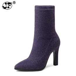 $enCountryForm.capitalKeyWord NZ - 2018 Women Boots Stretch Fabrics Mid Calf Boots Autumn Shoes Bling Thin High Heel Pointed Toe Ladies Boots Size yhj90