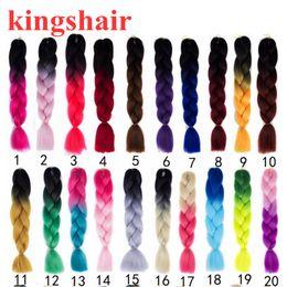 "Synthetic Braiding Hair Blonde Australia - 24"" Synthetic Kanekalon Braiding Hair Extensions Ombre Pink Gray Green Purple Crochet Braids Blonde Hair Jumbo Box Braids Hairstyle"