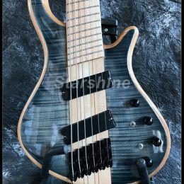 $enCountryForm.capitalKeyWord Australia - Starshine High Quality 6 Strings Electric Bass Guitar YL6-HD90 Neck Thru Body Flamed Maple Top Fanned Frets Male Fingerboard Black Hardware