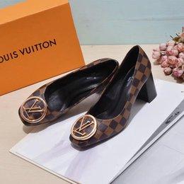 Großhandel Mode dame Büro Kleid Mary Jane Schuhe Rot Schwarz Blau Flock High Heels Pumps Große Größe Weibliche 2019 Schnalle Pumps