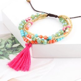 Wholesale 1Pc Bohemian Multilayer Beads Bracelets Vintage Tassel For Women Boho Statement Wrap Bangles Jewelry